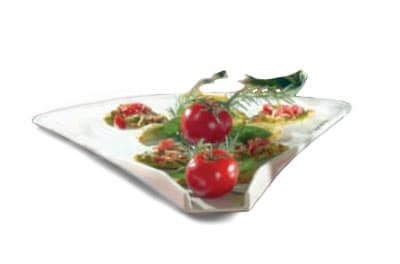 "Bon Chef 70076S BLK 16"" Triangle Platter, 1.25"" Deep, Aluminum/Black"