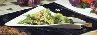 "Bon Chef 70077S BLK 16"" Triangle Platter, 3"" Deep, Aluminum/Black"