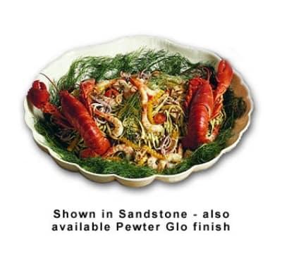 """Bon Chef 9071S WH Sea Shell Bowl, 22.5 x 23 x 5.5"""", Aluminum/White"""