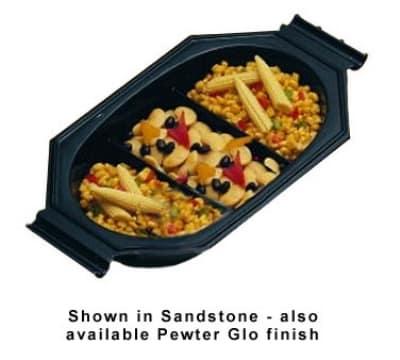 Bon Chef 9087P 1.5-qt Oblong Au Gratin Dish, 3-Compartment, Aluminum/Pewter-Glo