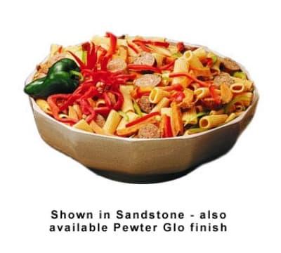 Bon Chef 9092S WH 6-qt Prism Serving Bowl, Footed Aluminum/White