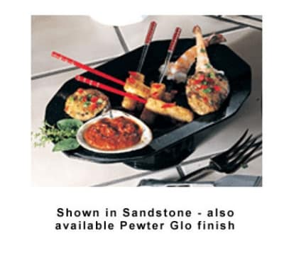 "Bon Chef 90999106S BLK Prism Pedestal Tray, 14.25 x 9-7/8"", Aluminum/Black"