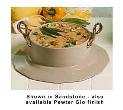 Bon Chef 91419097HRS WH 5.38-qt Soup Bowl Crock, Collar & Brass Handle, Aluminum/White