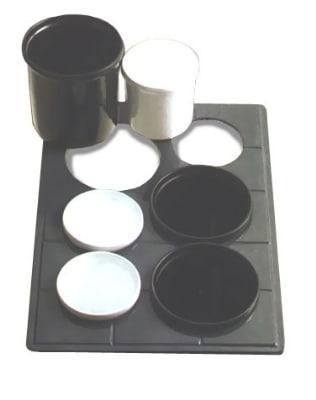 Bon Chef 960692032S BLK Custom Cut Tile Tray for (3) 9203 & (3) 9202, Aluminum/Black