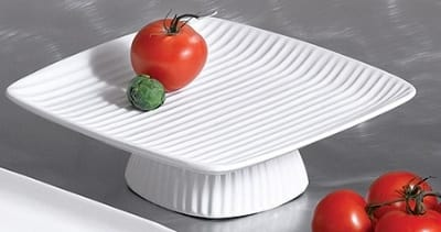"""Bon Chef 99199911P Ribbed Platter, Footed, 12.5 x 12.5 x 3"""", Aluminum/Pewter-Glo"""