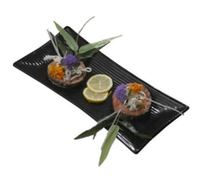 "Bon Chef 9921S BLK Ribbed Platter, Footed, 6.5 x 14"", Aluminum/Black"