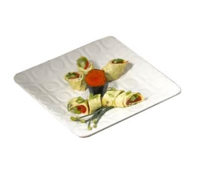 "Bon Chef 9923S WH Circle Embossed Platter, 10 x 10"", Aluminum/White"