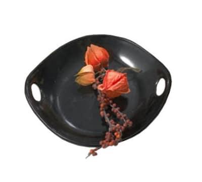"""Bon Chef 9931S BLK 7-1/8"""" Chopstick Plate, Aluminum/Black"""