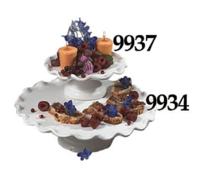 """Bon Chef 9934S WH 13.5"""" Cake Stand w/  Pedestal, Aluminum/White"""