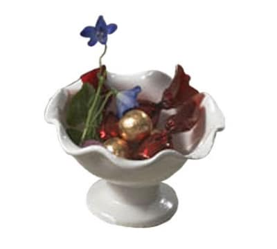 "Bon Chef 9936P 6"" Scalloped Pedestal Bowl, Aluminum/Pewter-Glo"