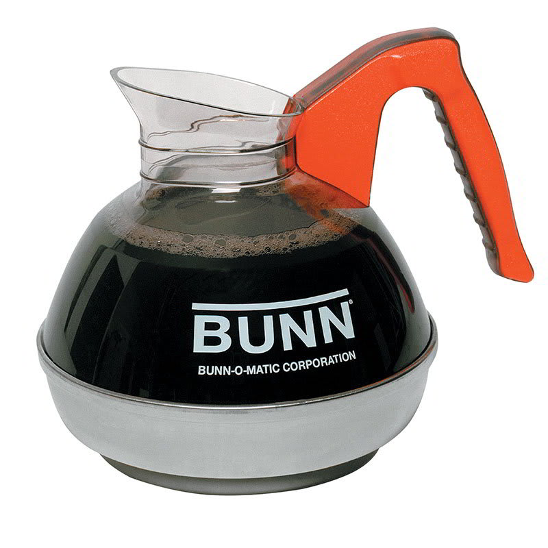 Bunn EASYPOUR-OR-0101 Easy Pour Coffee Decanter W/ SS Base, Orange Handle (06101.0101)
