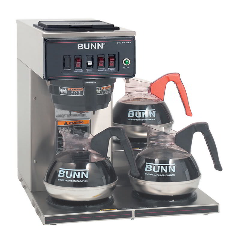 Bunn CWT15-3-0112 CWT15-3 Automatic Coffee Brewer, 3 Lower Warmers, Plastic Funnel, 120V (12950.0112)
