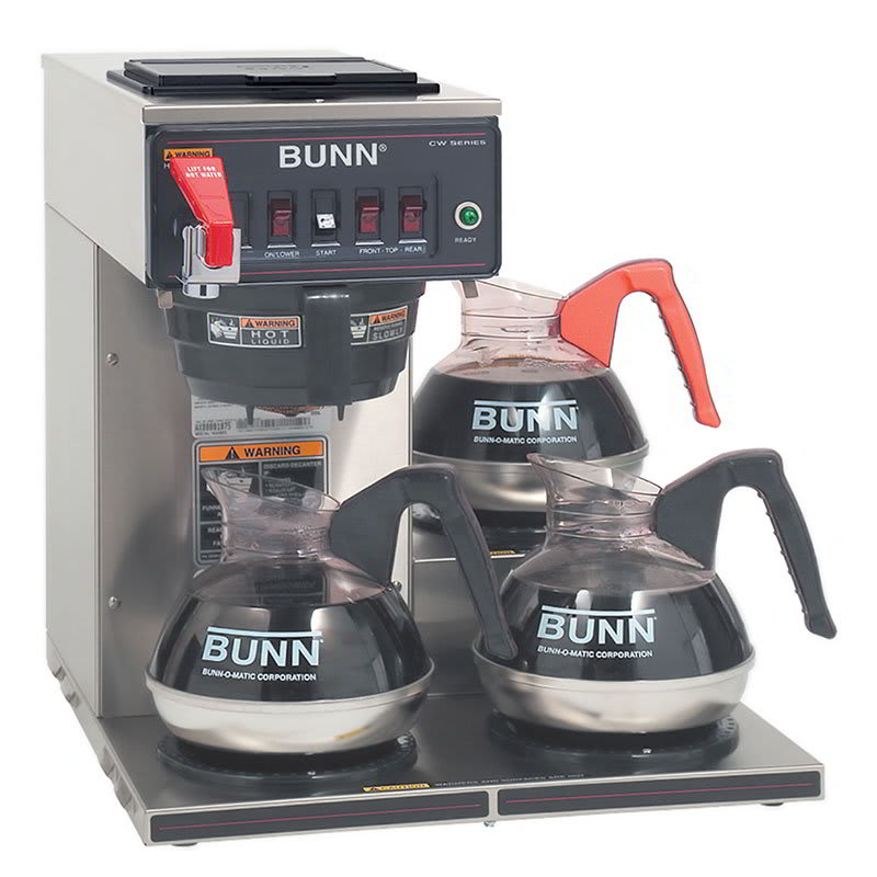 Bunn CWTF35-3-0252 Coffee Brewer, 3 Lower Warmers & Faucet, Plastic Funnel, 208-240v/1ph (12950.0252)