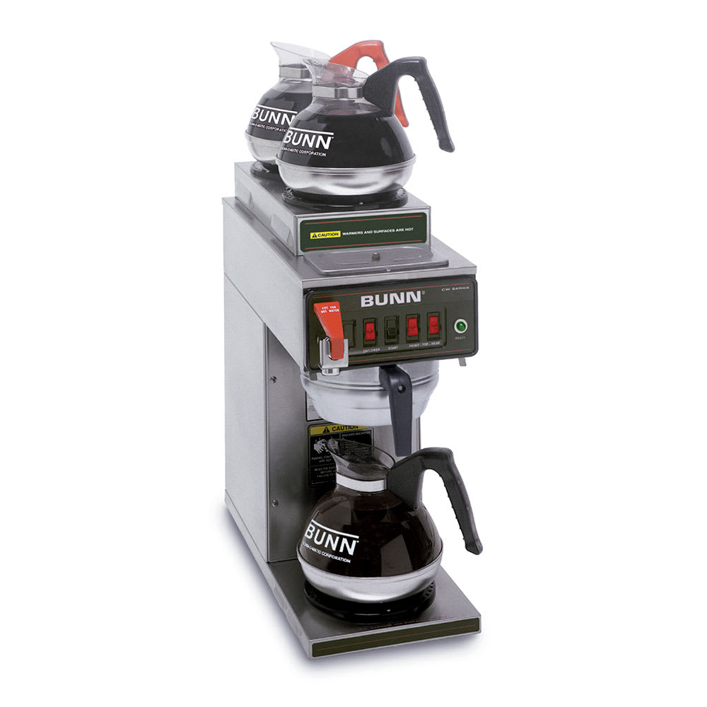 Bunn CWTF-DV-3-0410 Coffee Brewer, 2-Upper/1-Lower Warmers & Faucet, Dual Voltage, 120v (12950.0410)