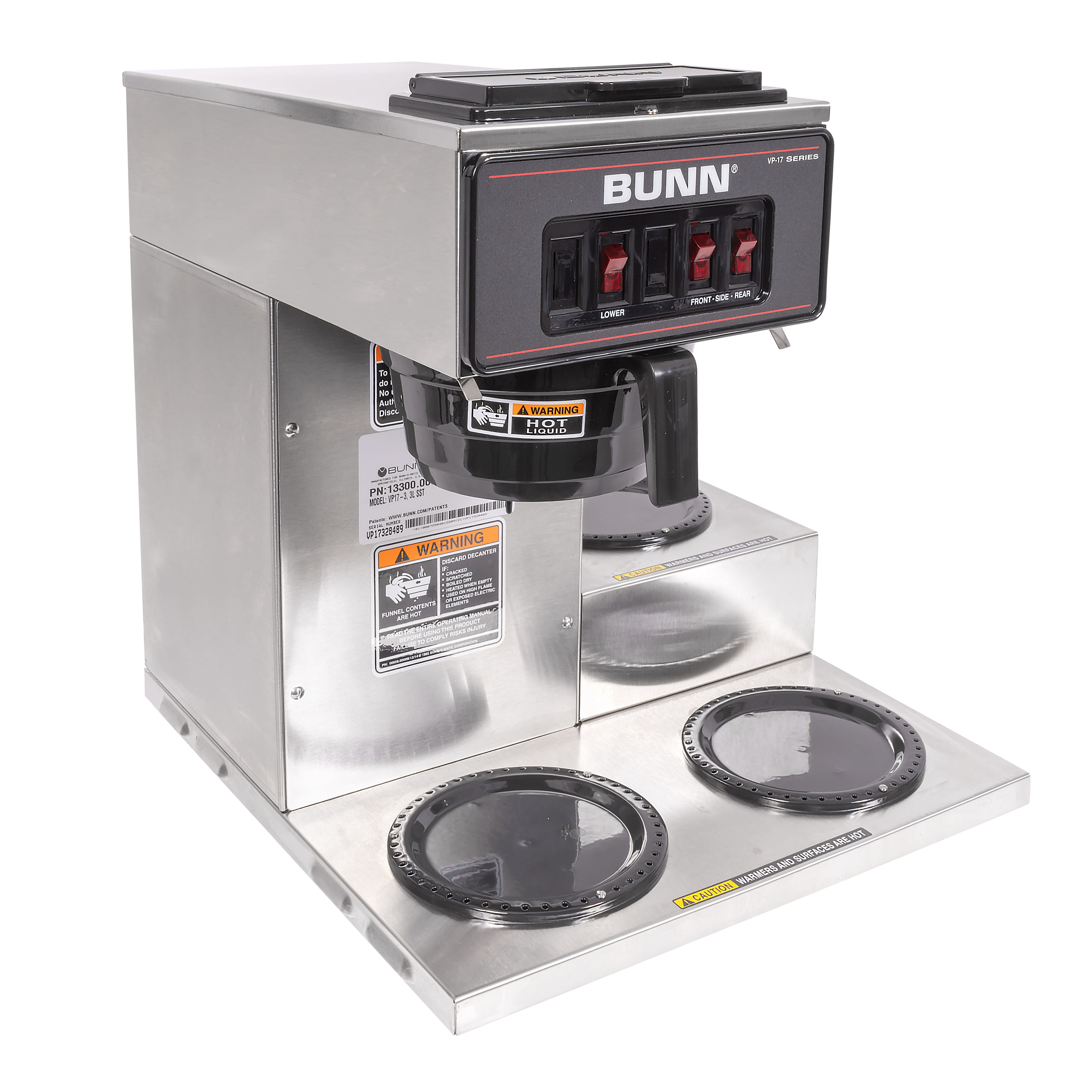 Bunn VP17-3 Pourover Coffee Maker w/ (3) Lower Warmers, 120v (13300.0003)