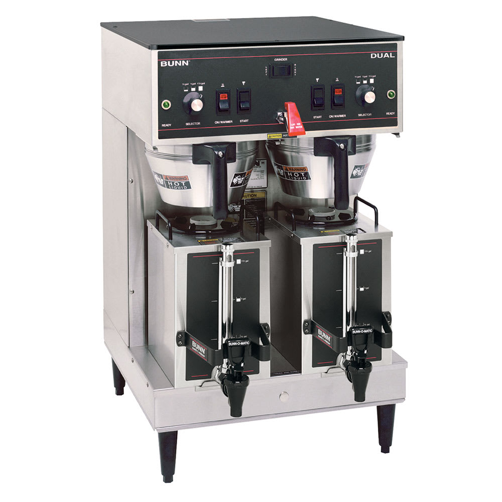 Bunn DUAL-0010 Dual Satellite Coffee Brewer w/16.3-gal/hr Capacity, Hot Water Faucet, Portable, 120-208v/1ph (20900.0010)