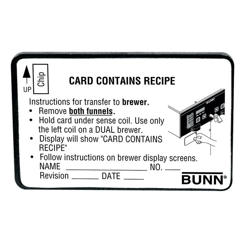 Bunn RECIPE-CARD-0000 BrewWISE Recipe Writer Recipe Card (34447.0000)