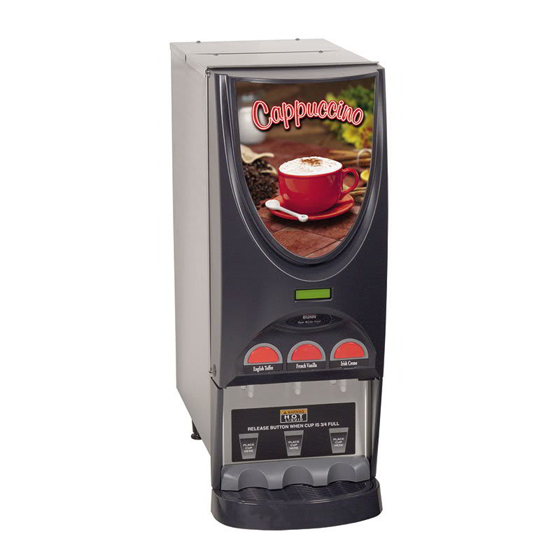 Bunn IMIX-3-0001 Hot Drink Dispenser, 3-Hoppers, Cappuccino Display, Stainless (36900.0001)