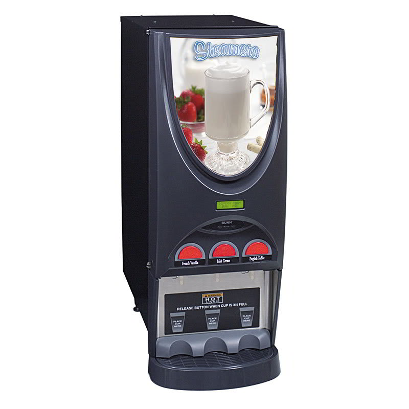 Bunn IMIX-3-0003 iMIX-3 Infusion Hot Drink Dispenser, Steamer Display, 3 Hoppers, Black (36900.0003)