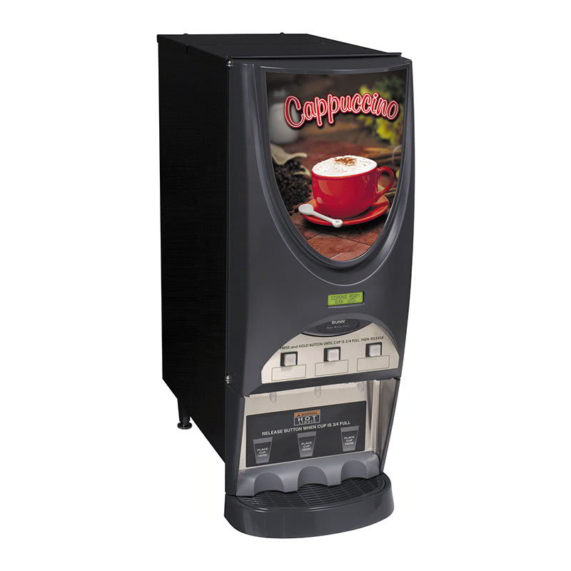 Bunn IMIX-3S-0001 iMIX-3S Plus Hot Drink Dispenser, Cappuccino Display, 3 Hoppers, Black (38600.0001)