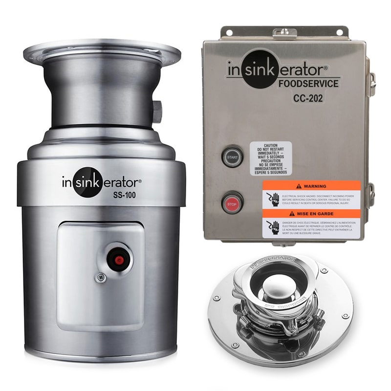 InSinkErator SS-100-5-CC202 2081 Disposer Package w/ #5 Adaptor & CC202 Panel, 1 HP, 208/1 V