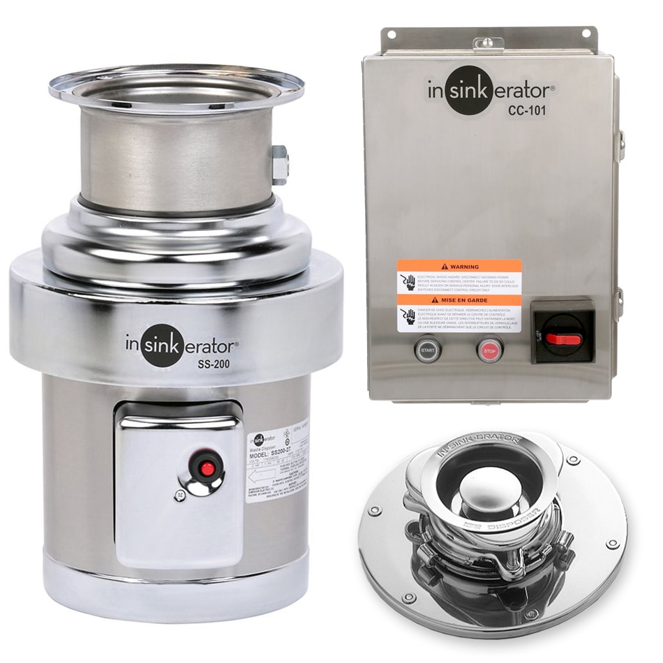 InSinkErator SS-200-5-CC101 2301 Disposer Package w/ #5 Adapter & CC101 Panel, 2 HP, 230/1 V