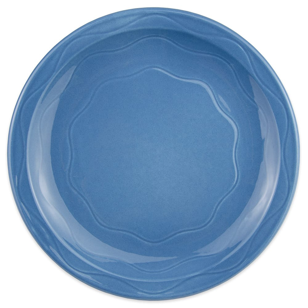 "Syracuse China 903032010 Plate w/ Cantina Carved Pattern & Shape, Flint Body, 9"", Blueberry"