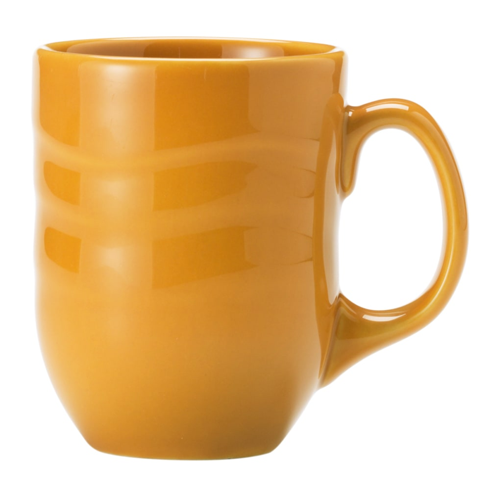 Syracuse China 903033004 10 oz Mug w/ Cantina Carved Pattern & Shape, Flint Body, Saffron
