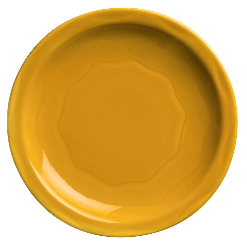"Syracuse China 903033010 Plate w/ Cantina Carved Pattern & Shape, Flint Body, 9"", Saffron"