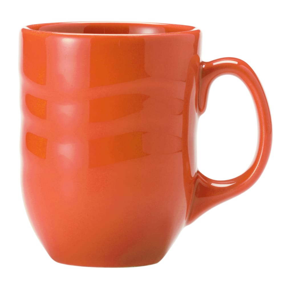 Syracuse China 903034004 10 oz Mug w/ Cantina Carved Pattern & Shape, Flint Body, Cayenne