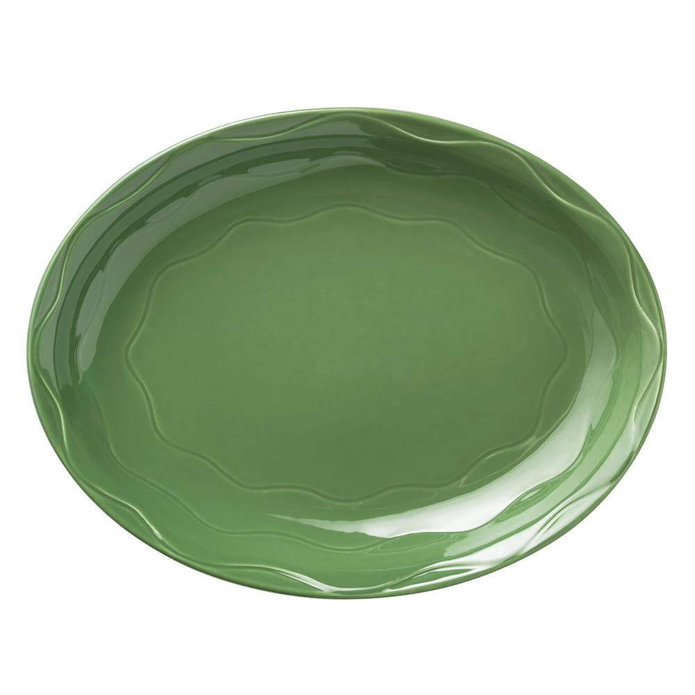 "Syracuse China 903035001 Oval Platter, Cantina Carved Pattern & Shape, Flint, 13.62x10.62"", Sage"
