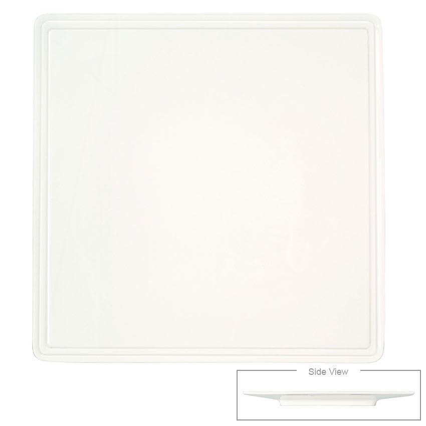 """Syracuse China 905356002 8"""" Flat Square Plate w/ Rolled Edge & Slenda Shape"""