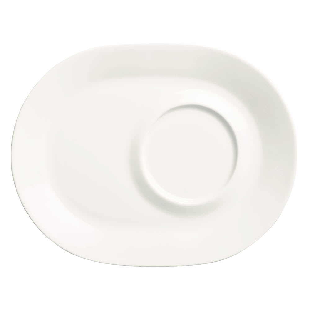 "Syracuse China 905356013 9 1/2"" Royal Rideau Racetrack Plate - Rolled Edge, White"