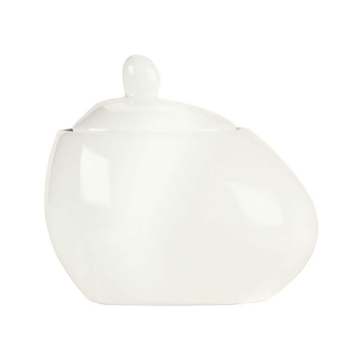 Syracuse China 905356127 5 oz Sugar Pot w/ Lid - Slenda Verve, White