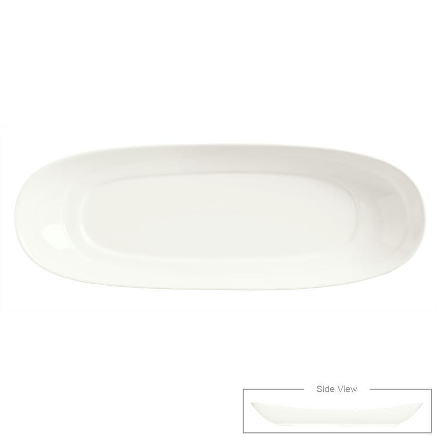 "Syracuse China 905356403 Slenda Oval Long Plate - 16-3/8x6"" Royal Rideau"