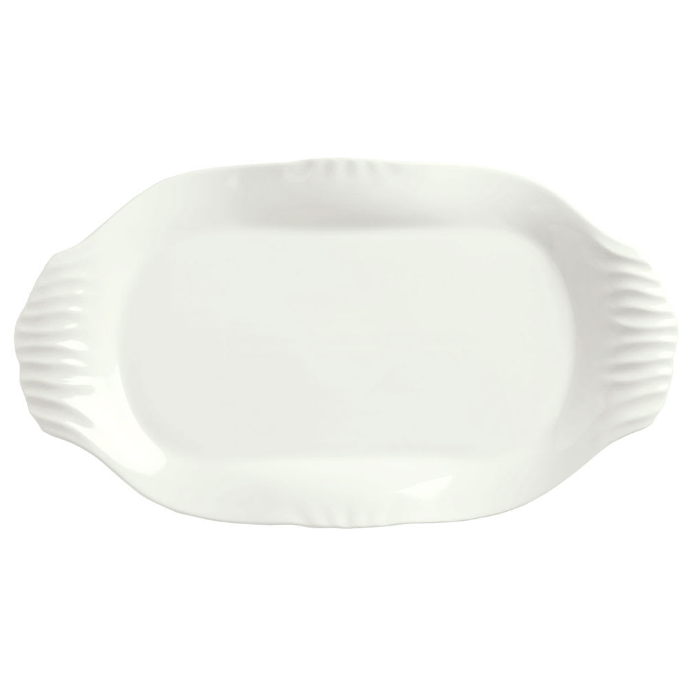 "Syracuse China 905356424 Oval Slenda Platter with Fluted Handles - 12 1/4x6 3/4"" Royal Rideau"