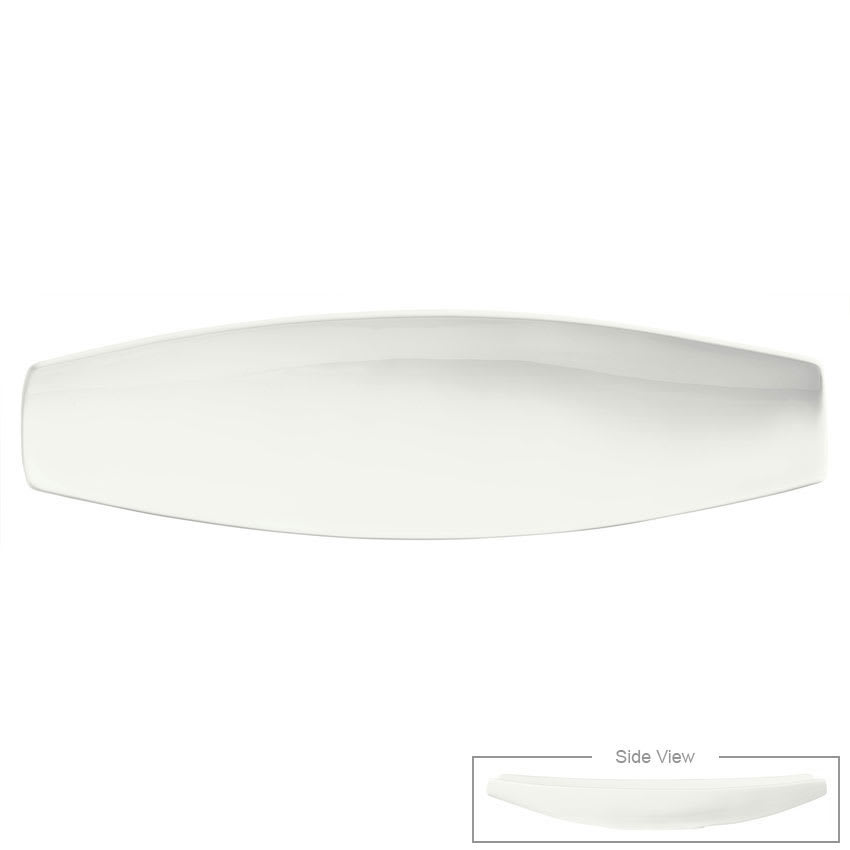 "Syracuse China 905356912 15 3/4"" Royal Rideau Canoe Plate - Canoe Shaped, Glazed, White"