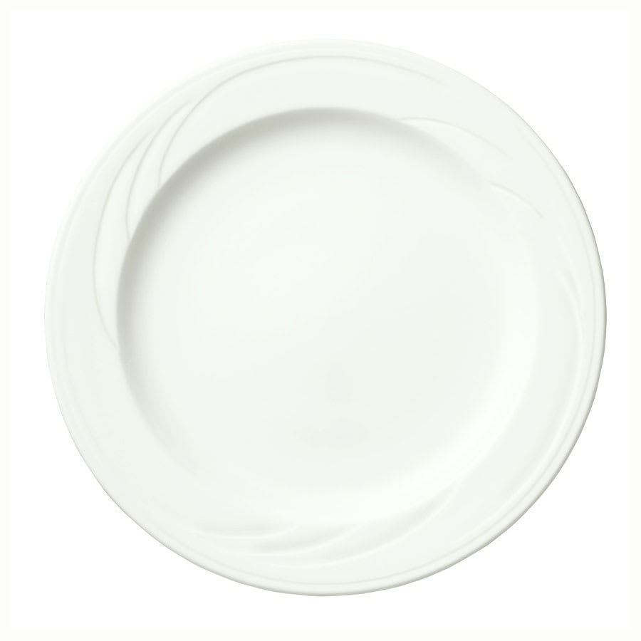 "Syracuse China 905437873 10.5"" Footed Plate w/ Medium Rim & Elan Pattern, Flat, Royal Rideau Body"