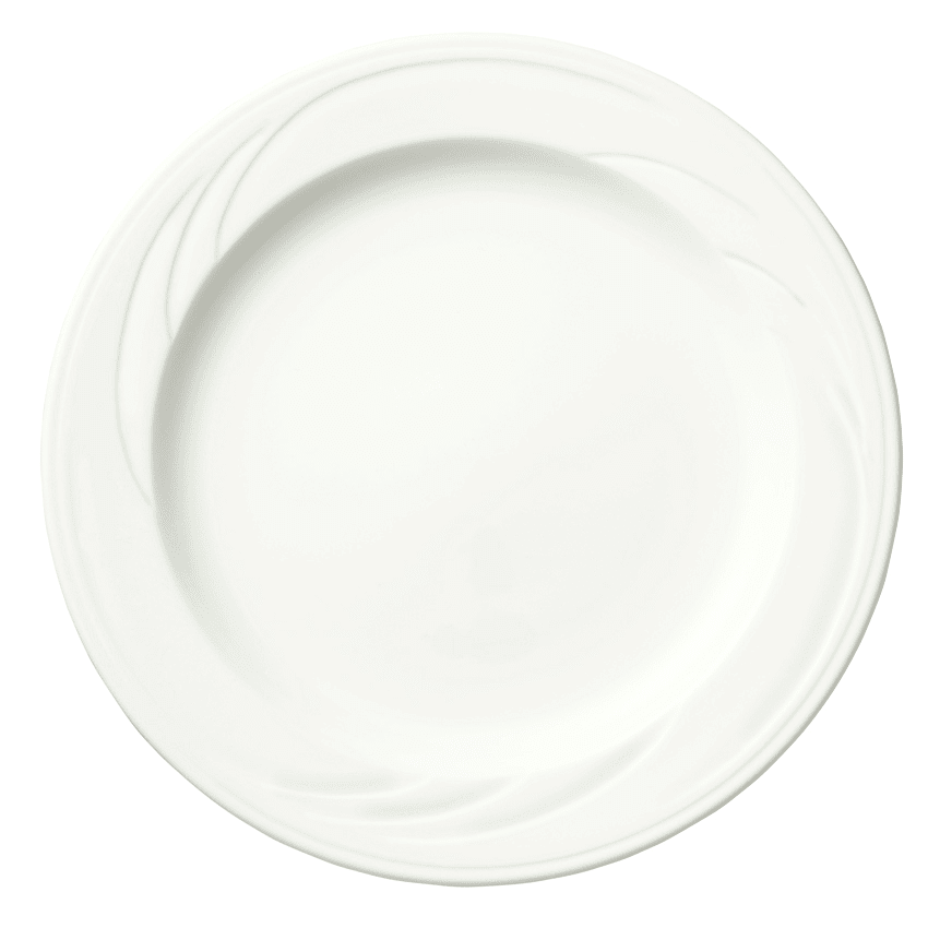 "Syracuse China 905437879 6.38"" Plate w/ Medium Rim & Elan Pattern, Flat, Royal Rideau Body"