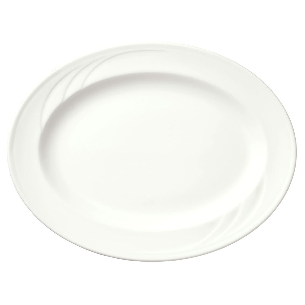 Syracuse China 905437884 Flat Profile Platter w/ Elan Pattern & Medium Rim, Royal Rideau, 11.5x8.37""