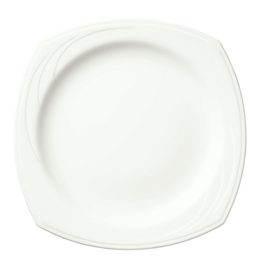 "Syracuse China 905437897 9"" Square Plate w/ Elan Pattern & Medium Rim, Flat, Royal Rideau Body"