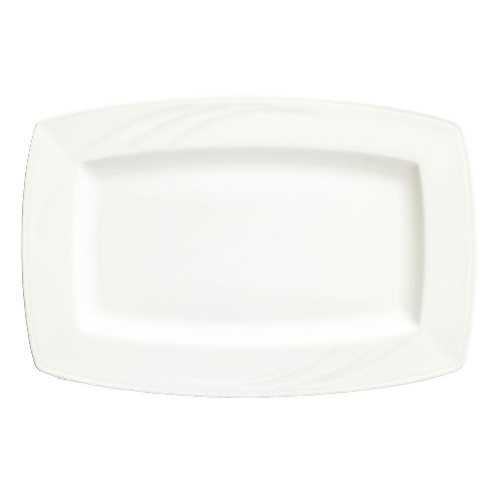 "Syracuse China 905437960 10"" Rectangular Plate w/ Elan Pattern & Royal Rideau Body"