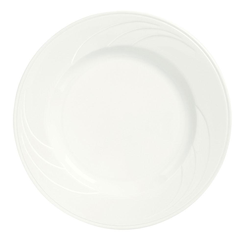 """Syracuse China 905437992 7.37"""" Wide Rim Plate w/ Elan Pattern & Royal Rideau Body"""