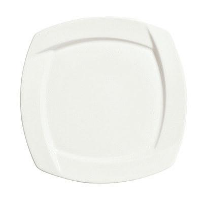 "Syracuse China 905482904 10.75"" Square Plate w/ Tangular Pattern & Shape, Thin, Royal Rideau Body"