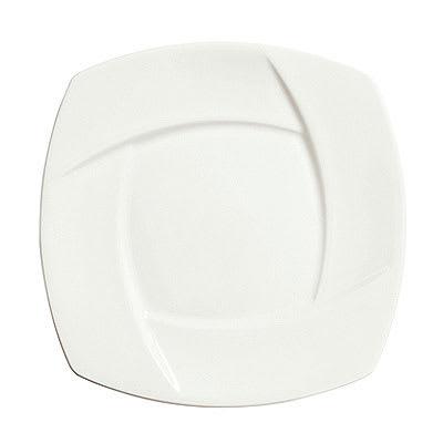 "Syracuse China 905482910 11.88"" Wide Rim Plate w/ Tangular Pattern & Shape, Thin, Royal Rideau Body, White"