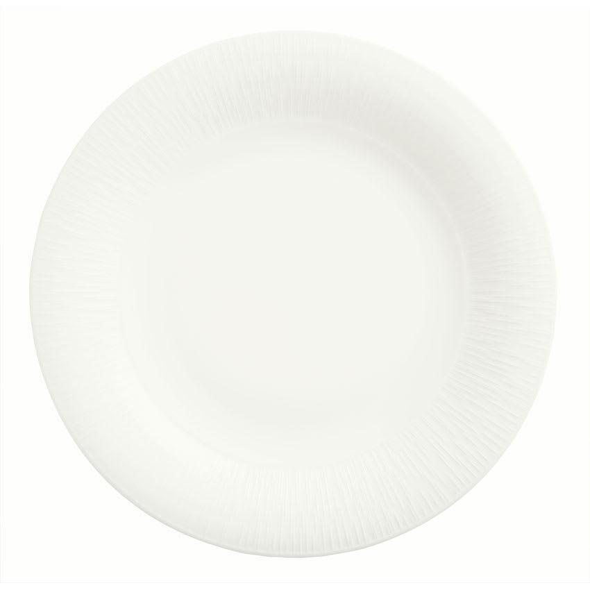 "Syracuse China 909089702 10.62"" Round Plate w/ Wide Rim, Under Ring & Royal Rideau Body, Glazed"