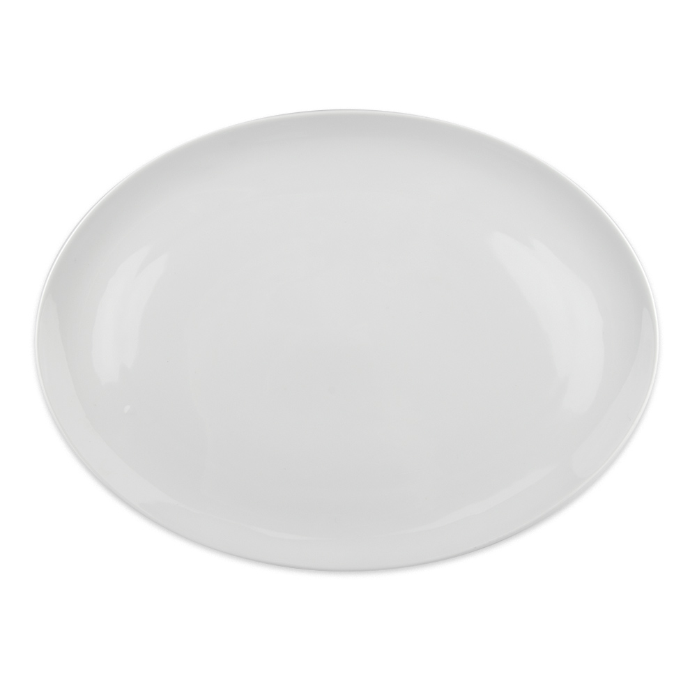 "Syracuse China 911194409 14.25"" Platter, Coupe, w/ Reflections Pattern & Shape, Alumawhite Body"