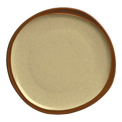 Syracuse China 922222350 Plate w/ Organic Shape & Narrow Rim, Terracotta Clay, Pine, 6.37x.5""
