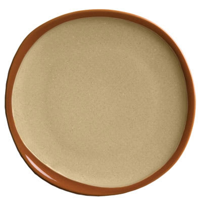 "Syracuse China 922222358 12"" Terracotta Plate - Organic Shape, 2-Tone Pine/Tan"
