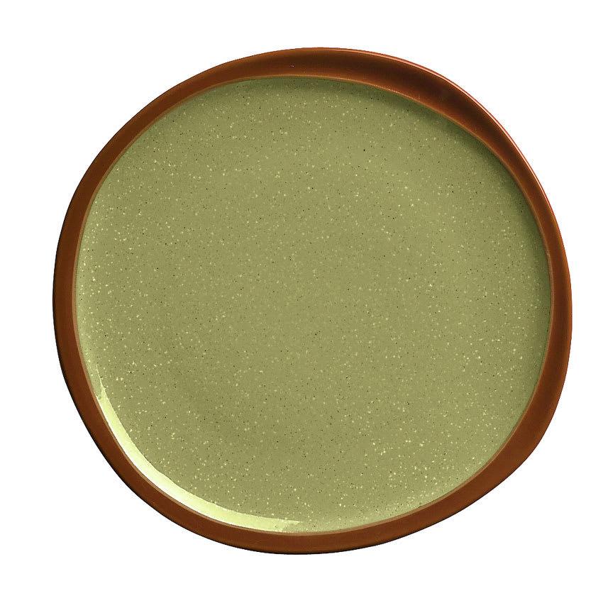 "Syracuse China 922224350 Organic Shaped Plate w/ Narrow Rim, Terracotta Clay, 2-Tone, 6.37x.5"", Fern"